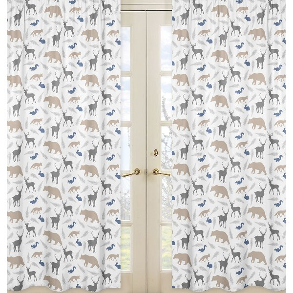 Woodland Animals Wildlife Sheer Rod Pocket Curtain Panels (Set of 2) by Sweet Jojo Designs