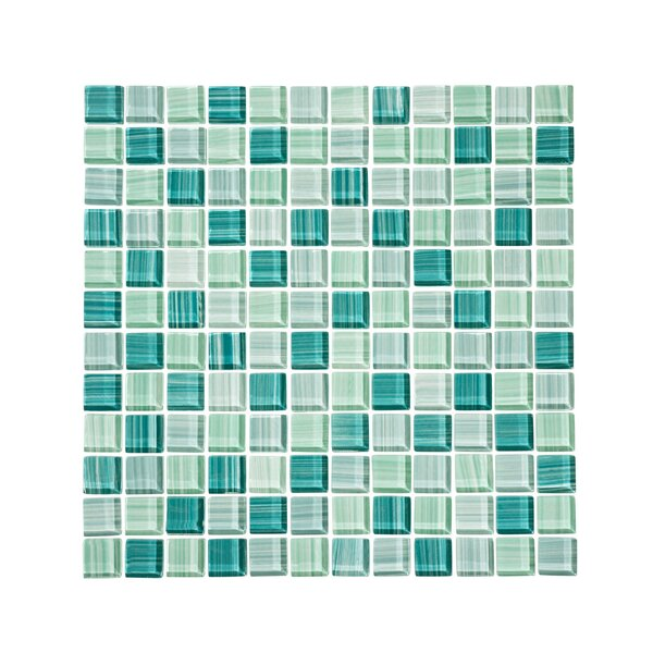 Tropical Reflections Hand Painted 1 x 1 Glass Mosaic Tile in Green by Vicci Design
