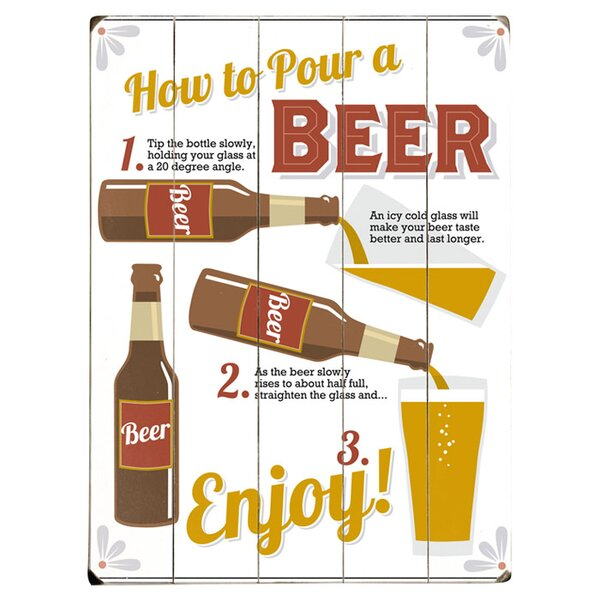 How to Pour a Beer Graphic Art Print Multi-Piece Image on Wood by Artehouse LLC