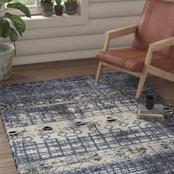 Mantz Modern Blue/Ivory/Gray Area Rug by Union Rustic