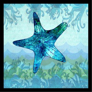 'Waves Starfish Poster' by Jill Meyer Framed Graphic Art by Buy Art For Less