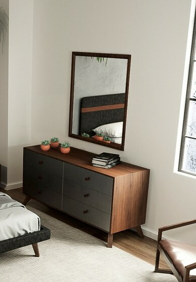 Lani Walnut 6 Drawer Double Dresser with Mirror by Langley Street