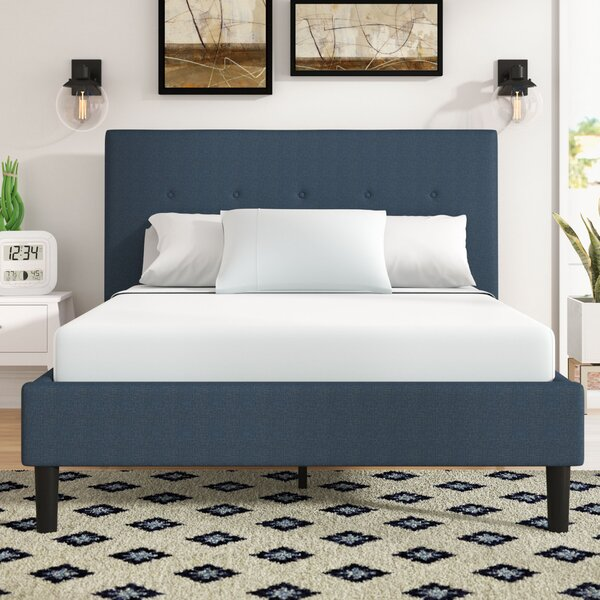 Roye Button Detailed Upholstered Platform Bed by W