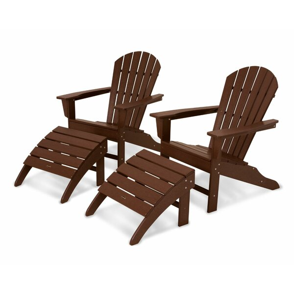 South Beach Wood Adirondack Chair with Ottoman by POLYWOOD®