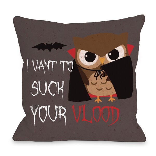 Vlood Sucking Owl Throw Pillow by One Bella Casa