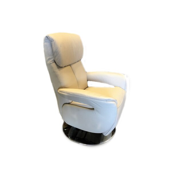 Manteo Leather Power Swivel Recliner by Latitude Run