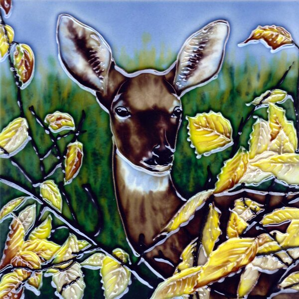 Deer with Bushes Tile Wall Decor by Continental Art Center