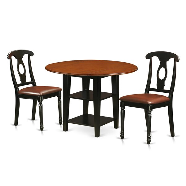 Tyshawn 3 Piece Drop Leaf Breakfast Nook Solid Wood Dining Set by Charlton Home Charlton Home