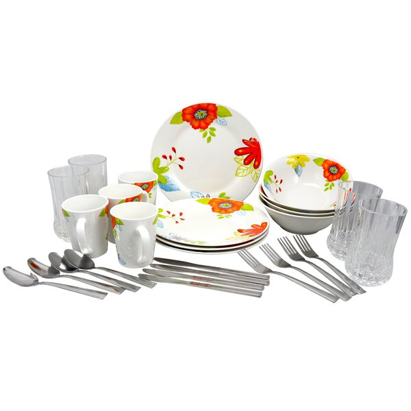 Levon 28 Piece Dinnerware Combo Set, Service for 4 by Winston Porter