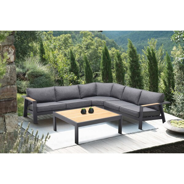 Aloyzas Outdoor 4 Piece Teak Sectional Seating Group with Cushions by Latitude Run