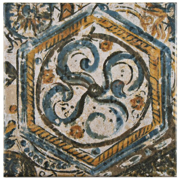 Romana 7.75 x 7.75 Ceramic Field Tile in Blue/Orange by EliteTile
