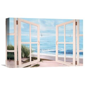 'Sandpiper Beach Through Door' by Diane Romanello Painting Print on Wrapped Canvas by Global Gallery