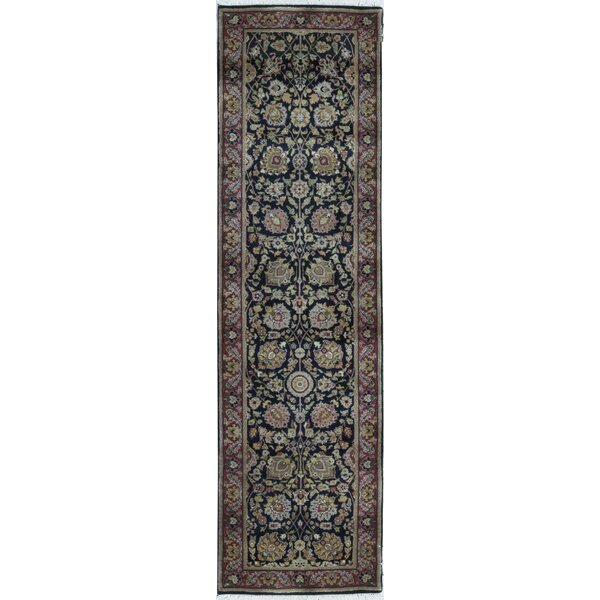 Runner Oriental Hand-Knotted Wool Black/Red Area Rug
