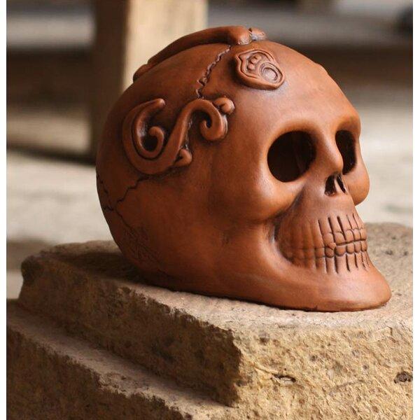 Aged Offering Handmade Aztec Skull Ceramic Day of the Dead Sculpture by Novica