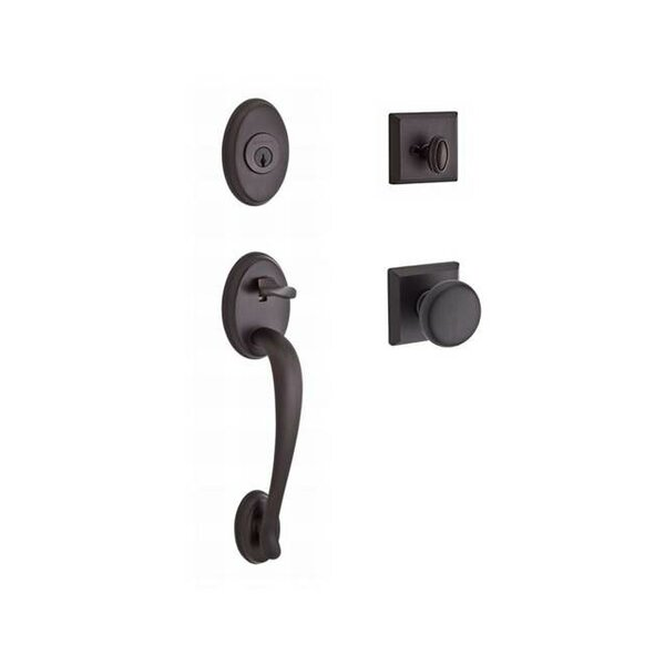 Columbus Single Cylinder Handleset with Round Door Knob and Traditional Square Rose by Baldwin