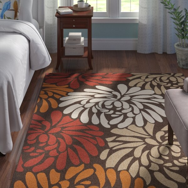 Centeno Chocolate / Terracotta Floral Indoor/Outdoor Area Rug by Winston Porter