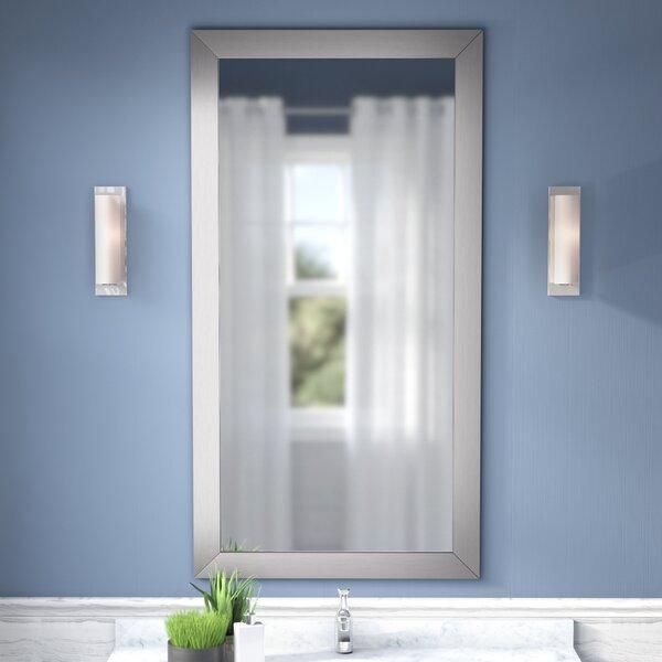 Hogge Modern Brushed Nickel Large Frame Wall Mirror by Latitude Run