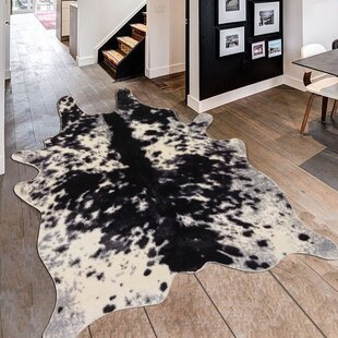 Alegre Faux Animal Cow Shape Black White Indoor Area Rug
