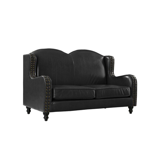 New Collection Riney Leather Loveseat by Charlton Home by Charlton Home