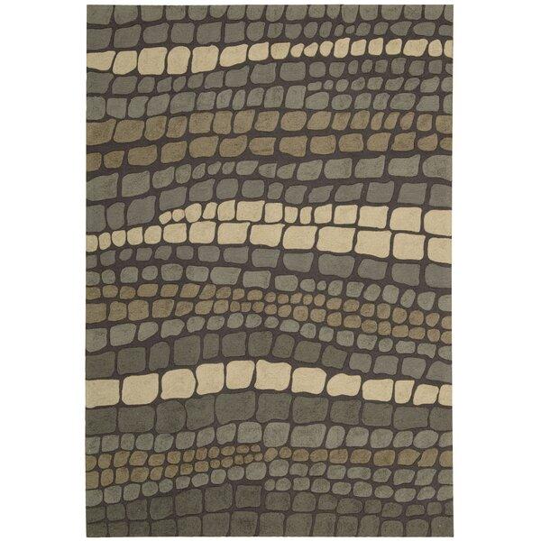 Velez Hand-Woven Green/Ivory Strip Area Rug by Bloomsbury Market