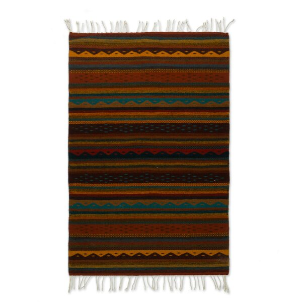 Weare Stripes Hand-Woven Wool Brown Area Rug by Millwood Pines