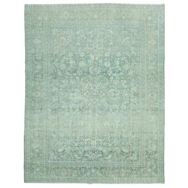 One-of-a-Kind Solita Hand-Knotted Teal 11' x 14' Area Rug