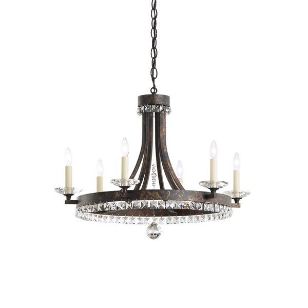 Early American 6 - Light Candle Style Wagon Wheel Chandelier by Schonbek Schonbek