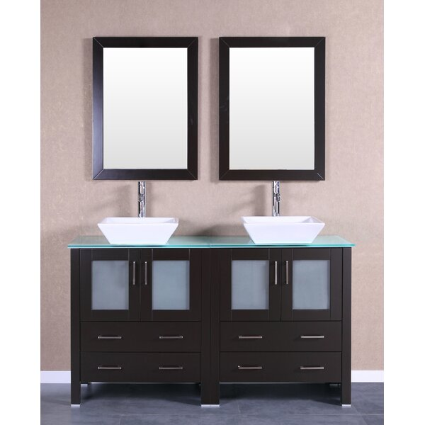59 Double Bathroom Vanity Set with Mirror by Bosconi