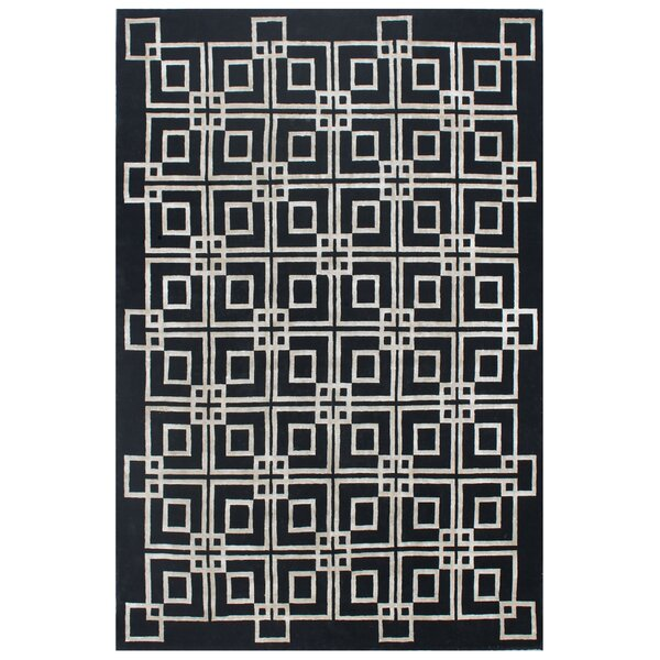 Hand-Knotted Wool/Silk Black/White Area Rug by Exquisite Rugs