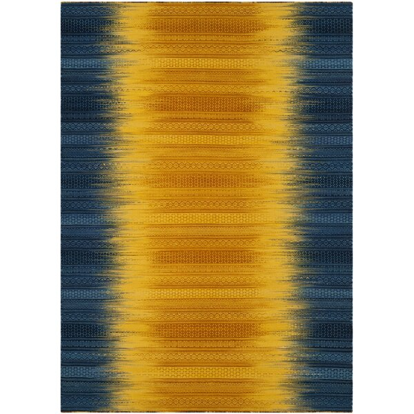 Sojourn Hand-Woven Dark Blue/Yellow Area Rug by Ivy Bronx