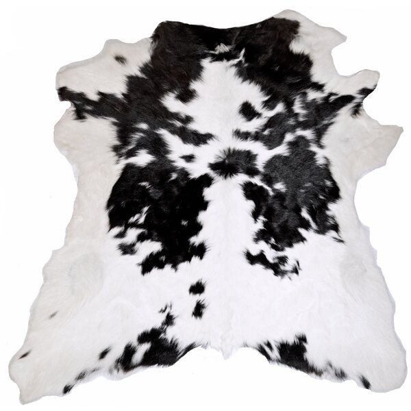 Designer Cowhides Black and White Calf Skin Area Rug by Trophy Room Stuff