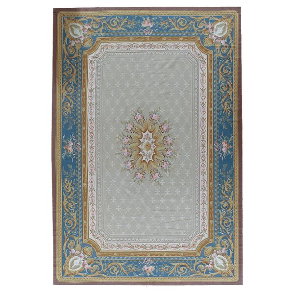 Aubusson Hand-Woven Wool Gray/Blue/Brown Area Rug by Pasargad