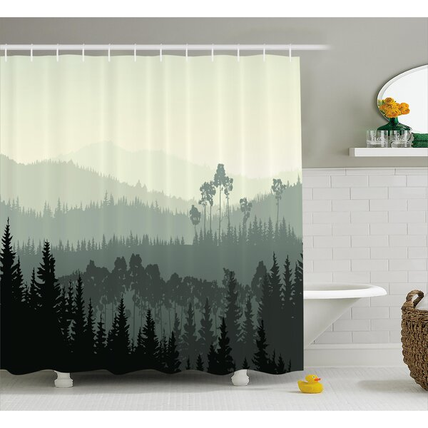 Burroway The Panorama of a Valley and a Mystic Forest of Pine Trees Shower Curtain by Loon Peak