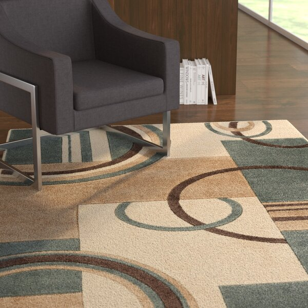 Herring Galaxy Waves Mint Area Rug by Ebern Designs