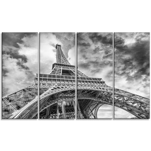 'Black and White View of Paris Eiffel Tower' 4 Piece Wall Art on Wrapped Canvas Set by Design Art