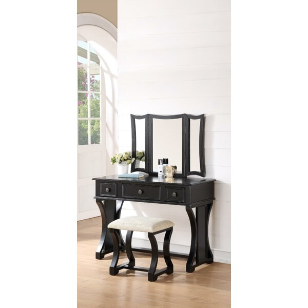 Welling Vanity Set with Stool and Mirror by Darby Home Co