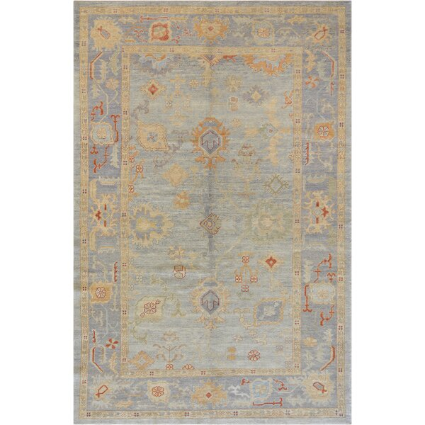 One-of-a-Kind Exquisite Oushak Handwoven Wool Blue Indoor Area Rug by Mansour