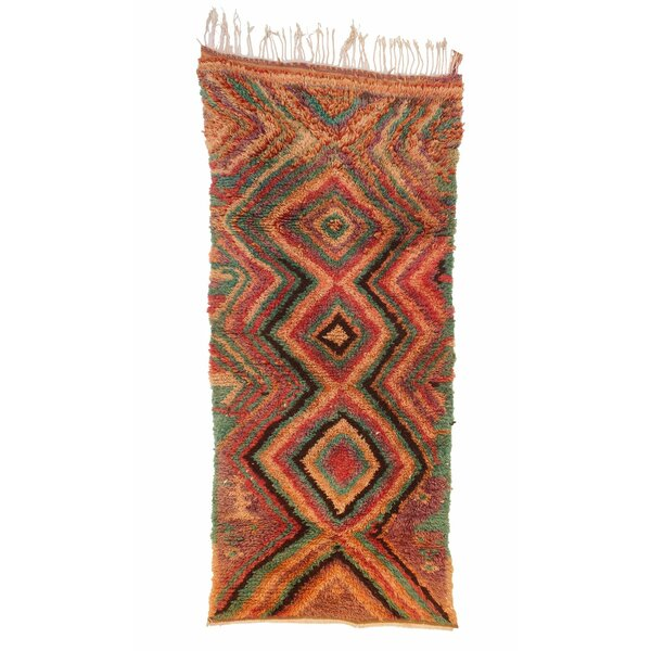 Azilal Vintage Moroccan Hand Knotted Wool Red/Teal/Brown Area Rug by Indigo&Lavender