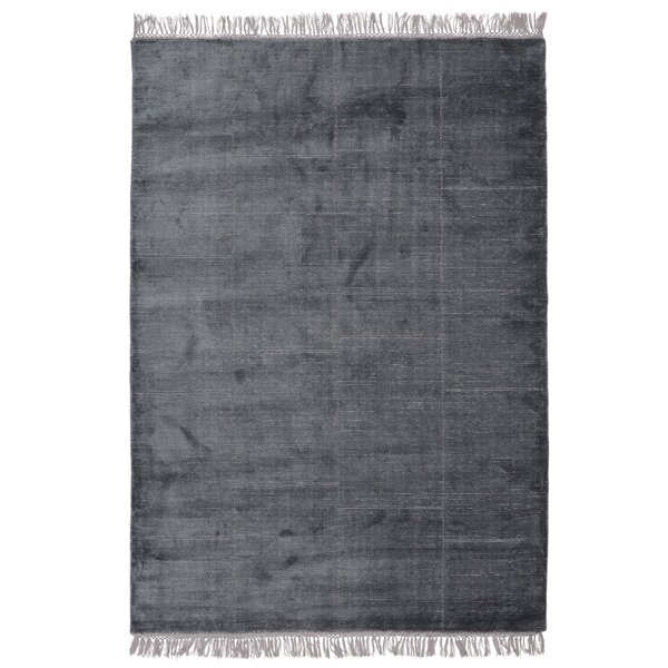 Bourquin Hand-Knotted Dark Blue Area Rug by Everly Quinn