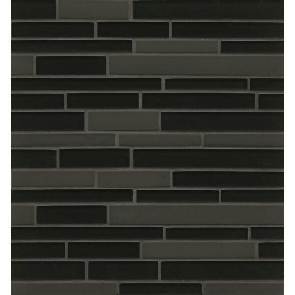 Remy Glass 12 x 13 Mosaic Random Interlocking Tile in Black by Grayson Martin