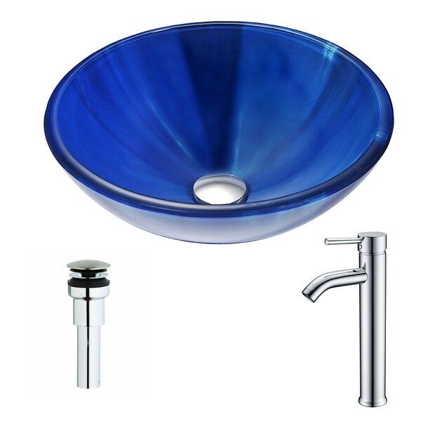 Meno Glass Circular Vessel Bathroom Sink with Fauc