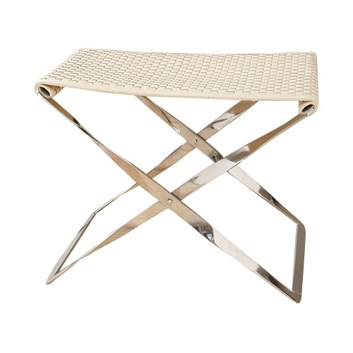 Woven Cowhide Bench by Global Views