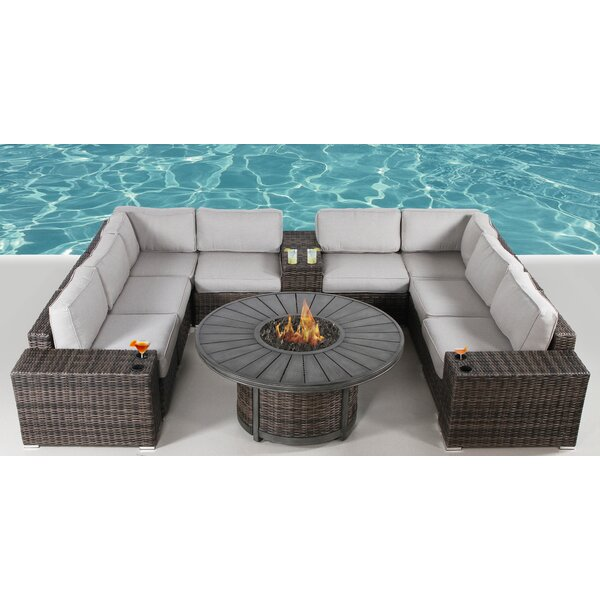 Turribridge 12 Piece Rattan Sectional Seating Group by Wrought Studio