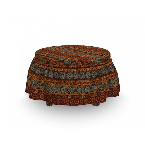 Earth Tones Primitive Floral 2 Piece Box Cushion Ottoman Slipcover Set By East Urban Home
