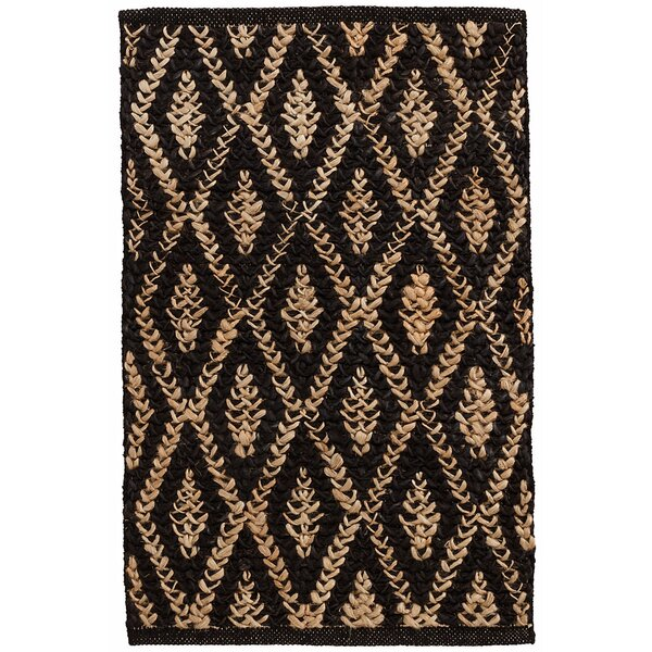 Two-Tone Diamond Hand-Woven Black Area Rug by Dash and Albert Rugs