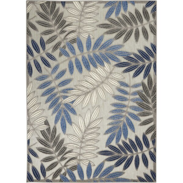 Seaside Contemporary Leaves Handwoven Flatweave Gray/Blue Indoor/Outdoor Area Rug by Bay Isle Home