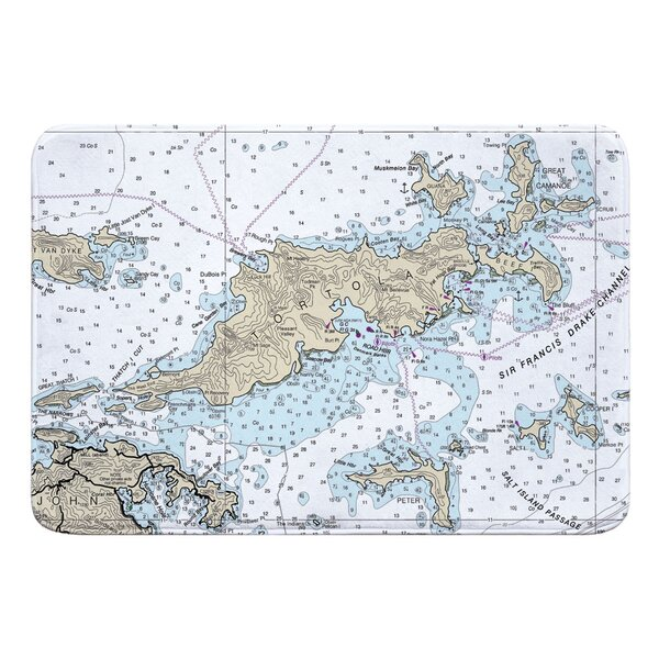 Nautical Chart Tortola BVI Rectangle Memory Foam Non-Slip Bath Rug