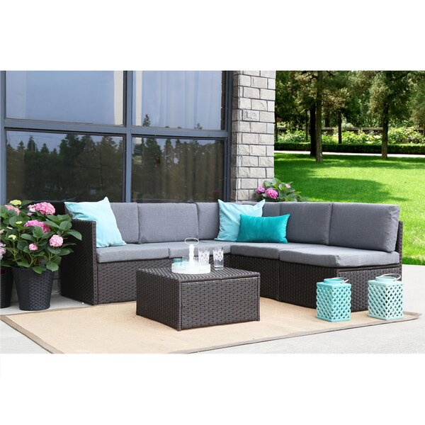 Mabie Complete 4 Piece Sectional/Sofa Set with Cushions by Wrought Studio Wrought Studio