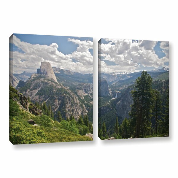 Yosemite-Half Dome, Vernal Falls and Nevada Falls by Dan Wilson 2 Piece Photographic Print on Wrapped Canvas Set by ArtWall