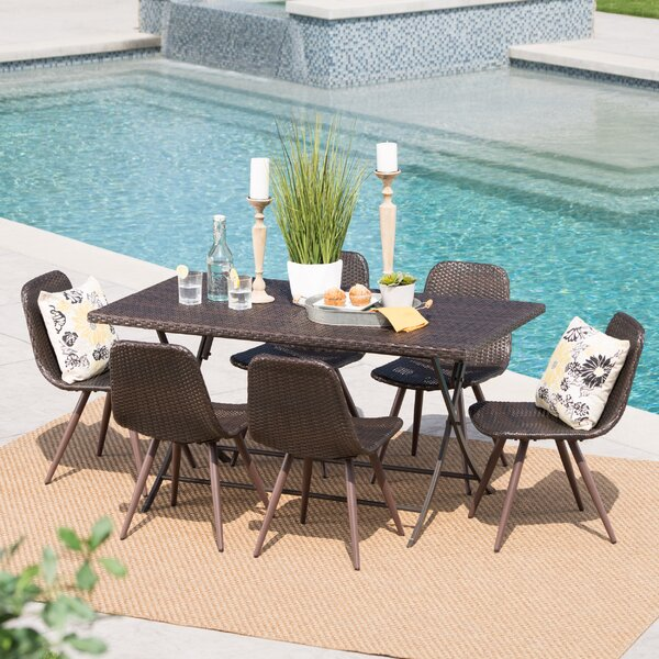 Garon Outdoor Wicker 7 Piece Dining Set by Ivy Bronx